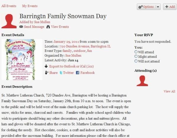 Barrington Family Snowman Day Added to the 365 Barrington Community Calendar