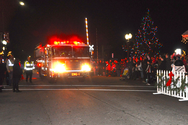 Santa's Annual Firetruck Arrival in the Village of Barrington