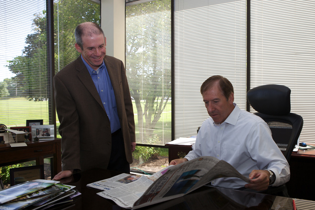 Shaw Media Group Editor, Dan McCaleb visit with Company President John Rung in His Office - Photographed by Julie Linnekin