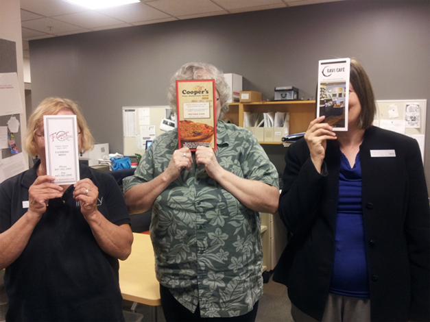 Marie Thomas, Sharon Krasel and Laura Morici of the library share favorite local menus. They're camera-shy.