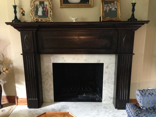 Bella Muri Refinished Fireplace Mantel - Photo Provided by Artist & Owner, Melissa Loutos