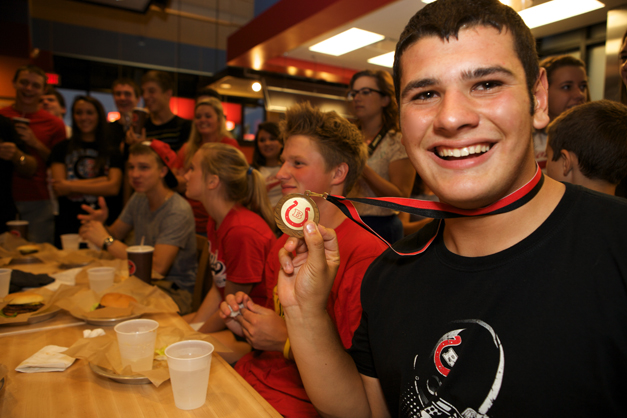 Meatheads Burger Battle Sloppiest Eater Winner and BHS senior, Vito Anzalone - Photographed by Julie Linnekin