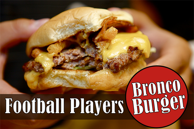 "BHS football players win Meatheads' Burger Battle with their signature ""Bronco"" burger - Photographed by Julie Linnekin"