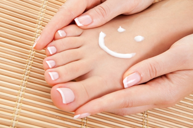 Regular exfoliatiing and moisturizing keeps feet happy