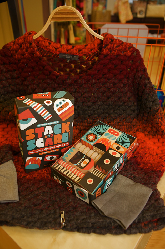 Blocks for the wee ones, and a fun sweater for you – photographed by Julie Linnekin