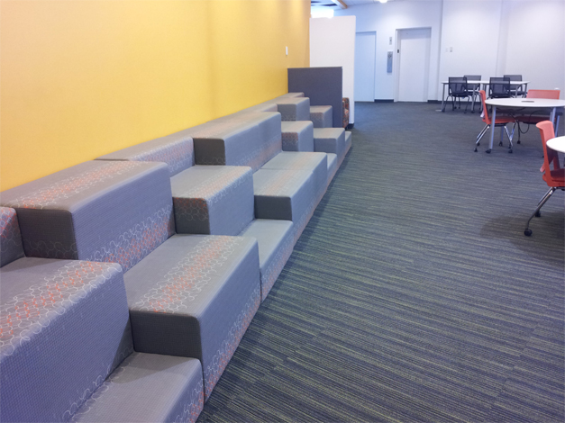 New bleacher-style seating in the Reading Commons area of the Barrington Area LIbrary.