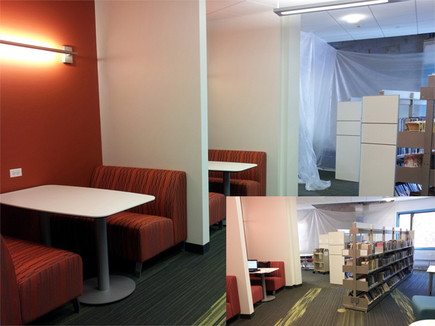 Photo of study booths, book shelves and work tables in the new teen and young adult area at the Barrington Area Library.