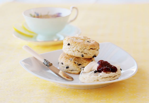 Photograph of tea cup and plate with scones, jam and clotted cream