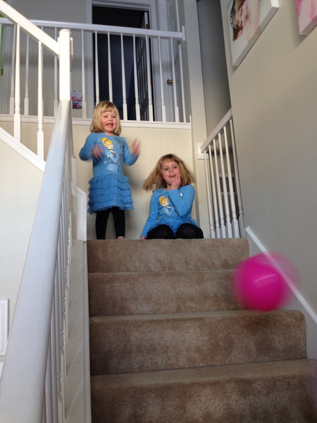 Paisley and Payton practice their ball handling skills with their cousins - Submitted by Anne Schmitt