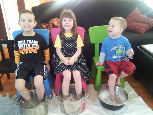 Brady, Grace & Brady Soss (Spa Day - Cold Day 2014) My three children having their special Spa Day :). They LOVED IT! We had relaxation music playing too. - Photo Submitted by Suzanne Soss