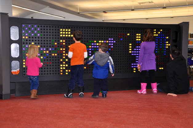 """""""Lite-Brite"""" wall in the Barrington Area Library's newly renovated Youth Services Department"""