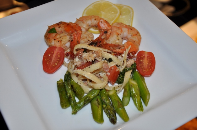 Shrimp, fettucini, and asparagus from Heinen's prepared foods - Photographed by Liz Luby