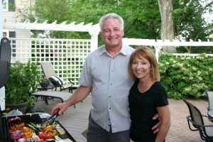 Happy grill chefs Pete and Sue Miller