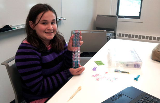 Not all MakerLab projects are high tech! Emma stopped by this week to work on a very complex Rainbow Loom project: making a backpack.