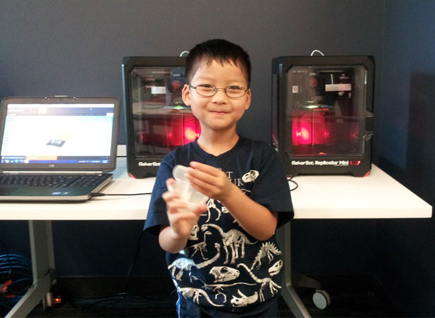 Paul was one of the first library patrons to try the 3D printer in our new MakerLab! He was making an owl for his sister - how sweet is that? Photo courtesy of the Barrington Area Library.