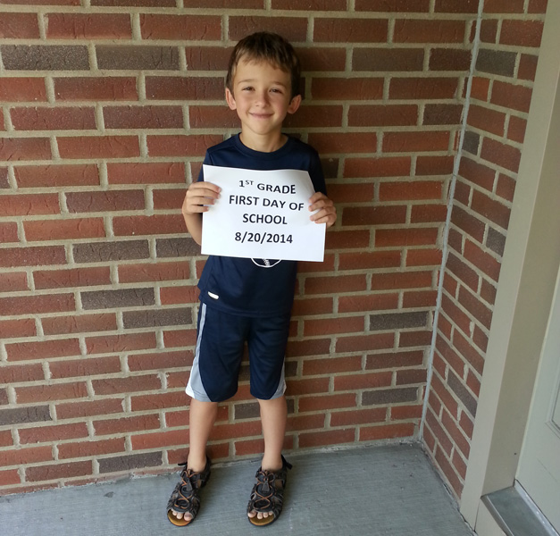 Tyler Kaminski's first day of 1st grade at Grove School - Submitted by Ed Kaminski