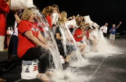 The Barrington 220 Board of Education takes the Ice Bucket Challenge during the BHS vs. Jacobs varsity football game Friday night - Photo courtesy of Ravi Khurana