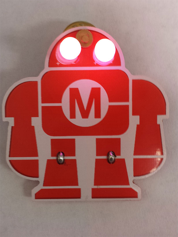 An awesome light-up pin made during the library's Maker Camp