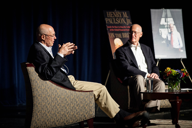 Former U.S. Treasury Secretary, Hank Paulson, shares message at Barrington High School about leadership and lessons learning during the financial crisis - Photo by Liz Benedetto, Elizabeth Ashby, Inc.