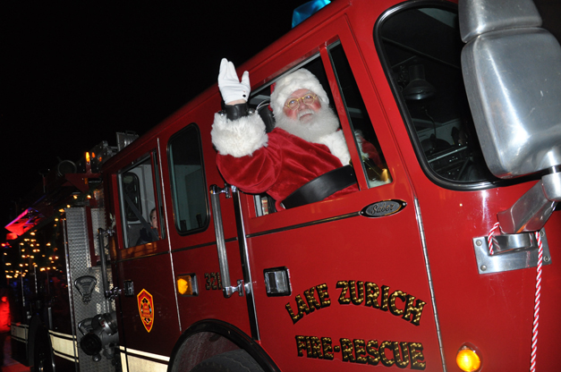 Santa's Arrival on a Firetruck at Deer Park Town Center