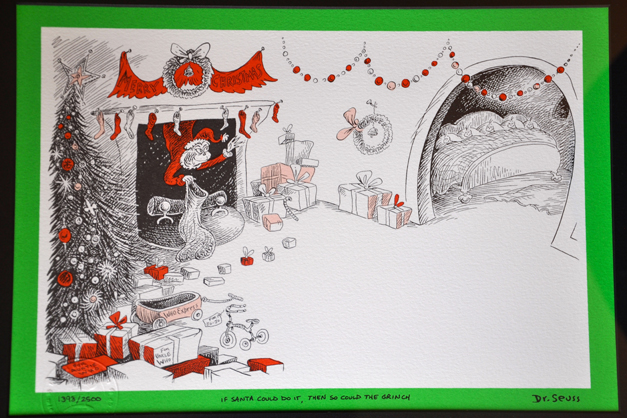 Win this limited-edition lithograph of an original drawing from the Dr. Seuss book How the Grinch Stole Christmas