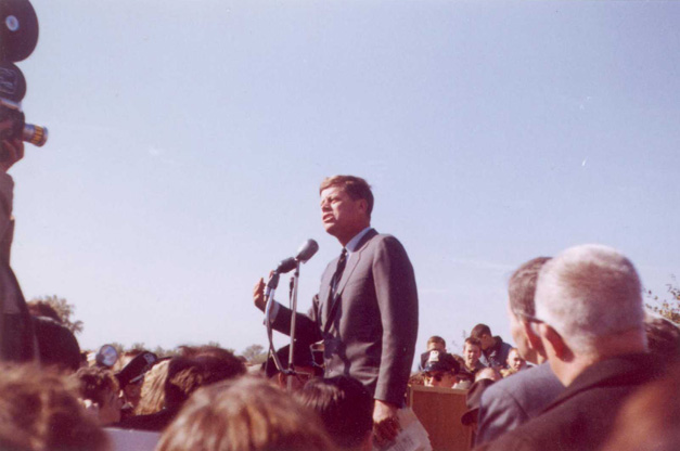 President John F. Kennedy at Barrington High School in October of 1960
