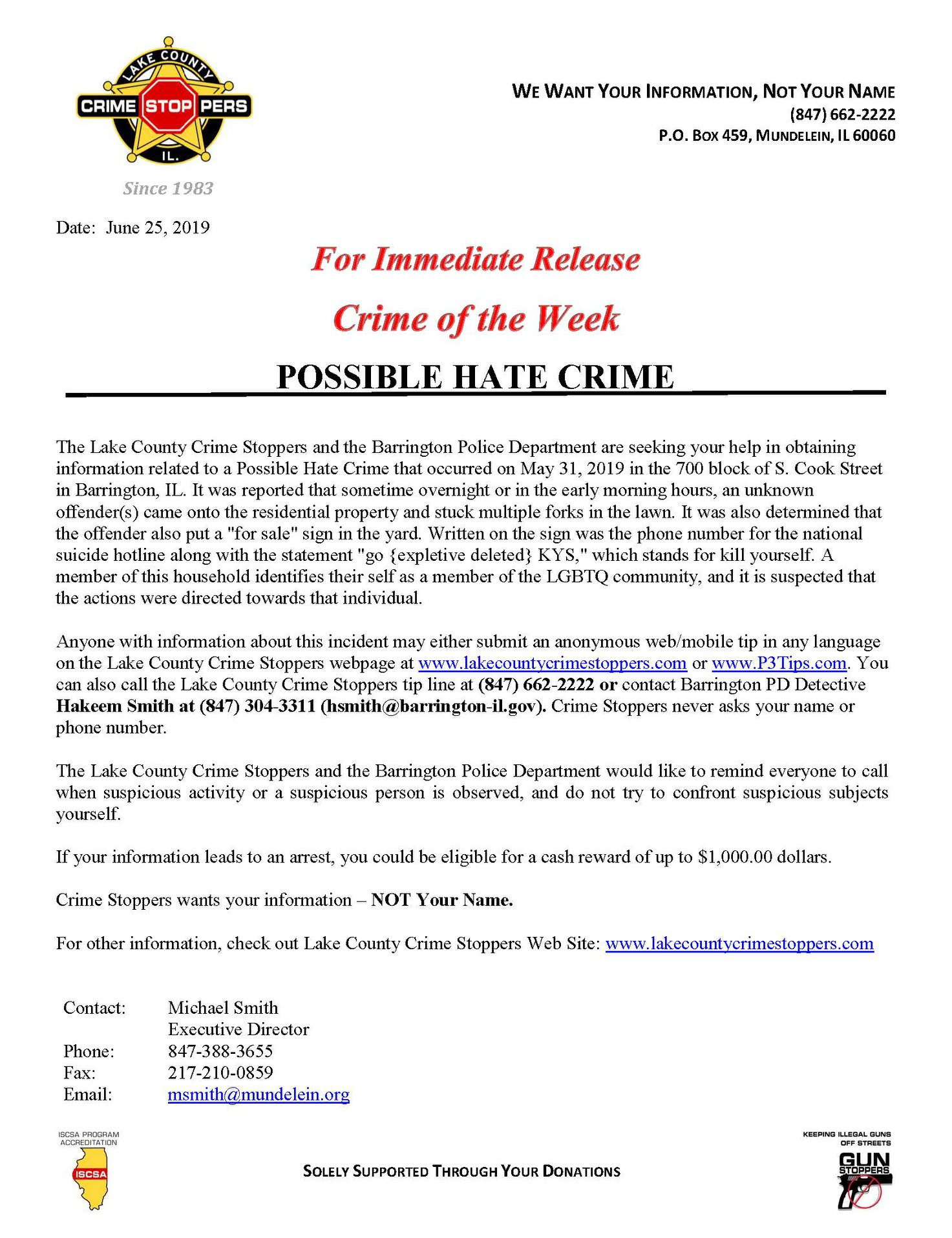 Lake County Crime Stoppers & Barrington Police Seek Tips in